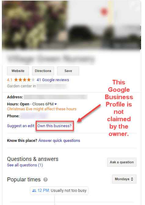 Unclaimed Google Business Profile