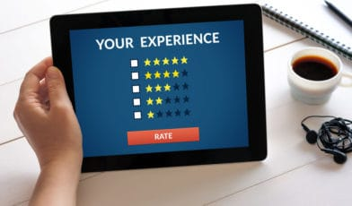 Online Review Stars on Tablet